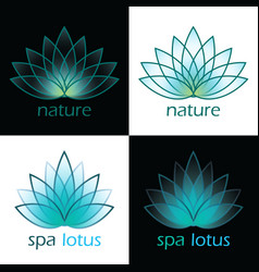 Nature spa lotus on black and white vector