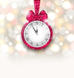 New year midnight sparkling background with clock vector