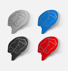 Paper clipped sticker brain vector