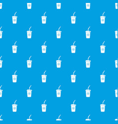 plastic glass juice pattern seamless blue vector image