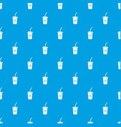 plastic glass juice pattern seamless blue vector image