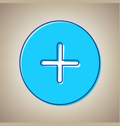 Positive symbol plus sign sky blue icon vector