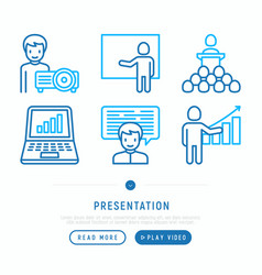 presentation thin line icons set vector image