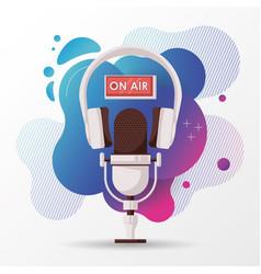 Radio microphone retro with earphones vector