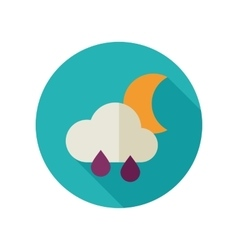 Rain Cloud Moon flat icon Meteorology Weather vector image