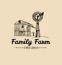 Retro family farm logotypeorganic premium vector