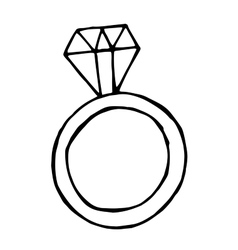 ring with big diamond doodle object vector image