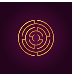 Round gold labyrinth line icon vector image