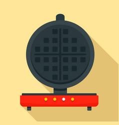 Round waffle machine icon flat style vector