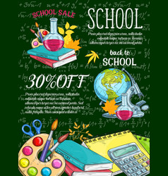 School supplies and item sale banner on chalkboard vector