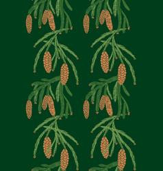 seamless pattern pine tree cones vector image