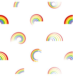 seamless pattern with different rainbows vector image