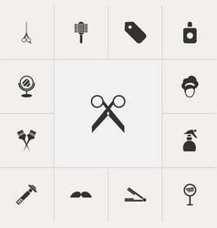 Set of 13 editable hairstylist icons includes vector
