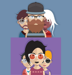 set of people icons with faces vector image