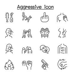 Set violence related line icons contains vector