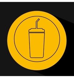 Silhouette head concept cinema soda cup vector