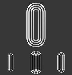 Silver letter i logo design set vector