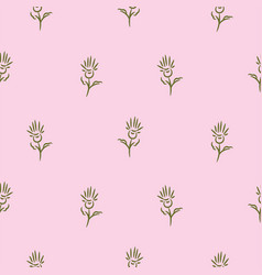simple flowers on pink seamless pattern background vector image
