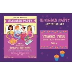 Slumber Party Birthday Invitation Thank You Card vector image