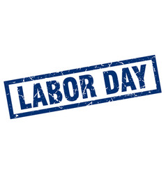 Square grunge blue labor day stamp vector