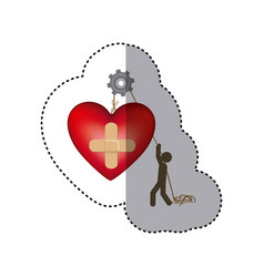 Sticker colorful worker with pulley holding heart vector