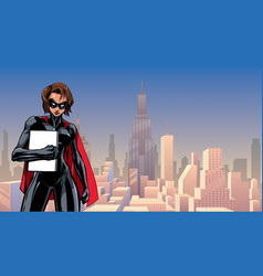 superheroine holding book in city vector image