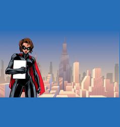 Superheroine holding book in city vector