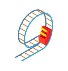 Swing roller coaster icon cartoon style vector
