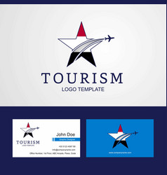 Travel yemen flag creative star logo and business vector