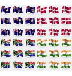 Turks and Caicos Denmark South Africa India Set of vector