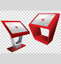 two red promotional interactive information kiosk vector image