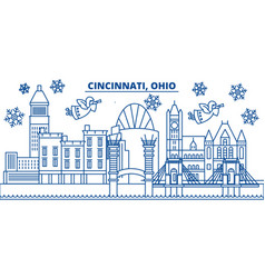 usa ohio cincinnati winter city skyline merry vector image