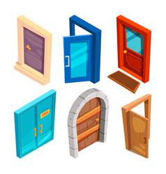 various isometric pictures cartoon doors vector image