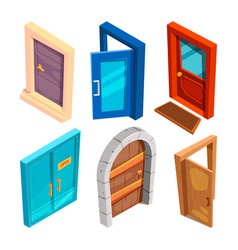 various isometric pictures of cartoon doors vector image