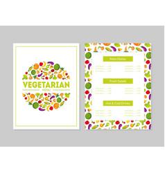 vegetarian menu design template main dishes vector image