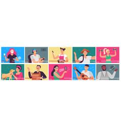 video tutorial bloggers content creators vector image