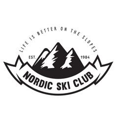 Vintage ski or winter sports logo badge emblem vector