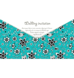 Wedding invitation card with blue floral pattern vector