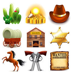 Wild west icons set vector