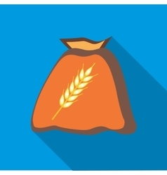 Bag of wheat seeds icon in flat style vector image