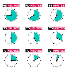 Clock Face with Different Time Set Isolated vector image vector image