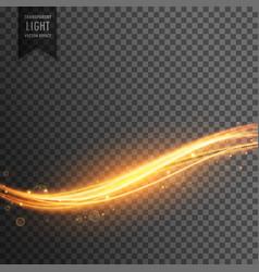 golden light streak transparent effect background vector image
