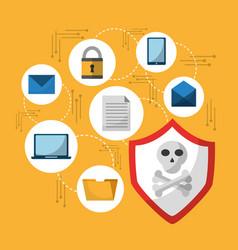 set of spectre and meltdown cyber crime virus vector image