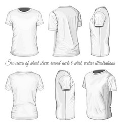 six views of white t-shirt vector image