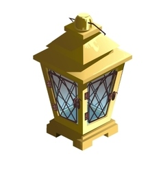Vintage yellow street lamp isolated vector image