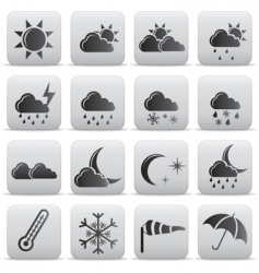 weather icons grey buttons vector image vector image