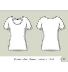 Women short sleeve round neck t-shirt Template vector image