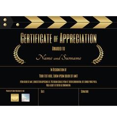 Certificate of appreciation template movie theme vector
