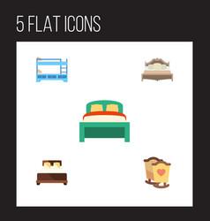 Flat bed set of furniture crib mattress and vector