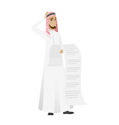 muslim accountant holding a long bill vector image
